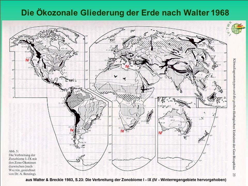 Die Ökozonale Gliederung der Erde nach Walter 1968