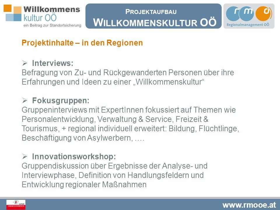 Willkommenskultur OÖ Projektinhalte – in den Regionen Interviews: