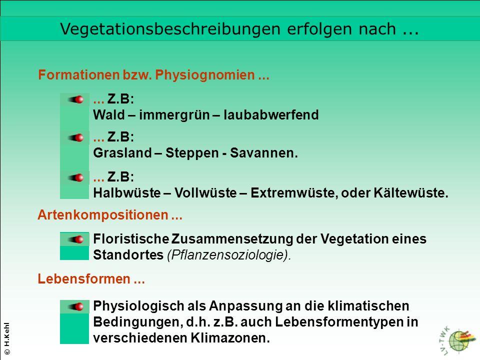 Vegetationsbeschreibungen erfolgen nach ...