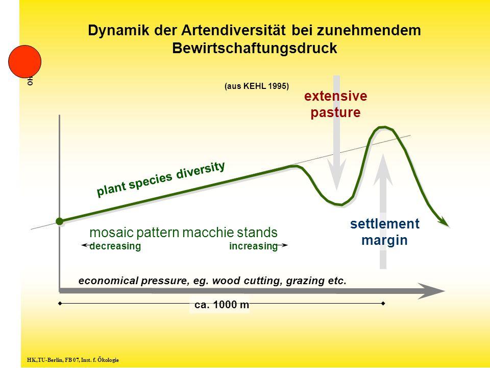 Dynamik der Artendiversität bei zunehmendem Bewirtschaftungsdruck