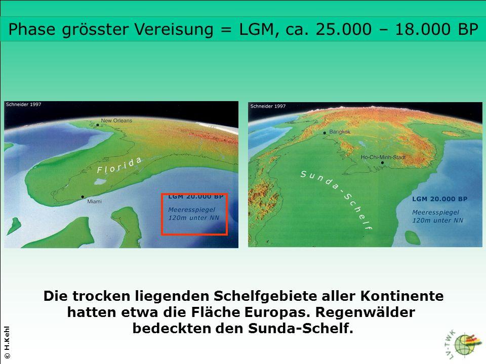 Phase grösster Vereisung = LGM, ca. 25.000 – 18.000 BP