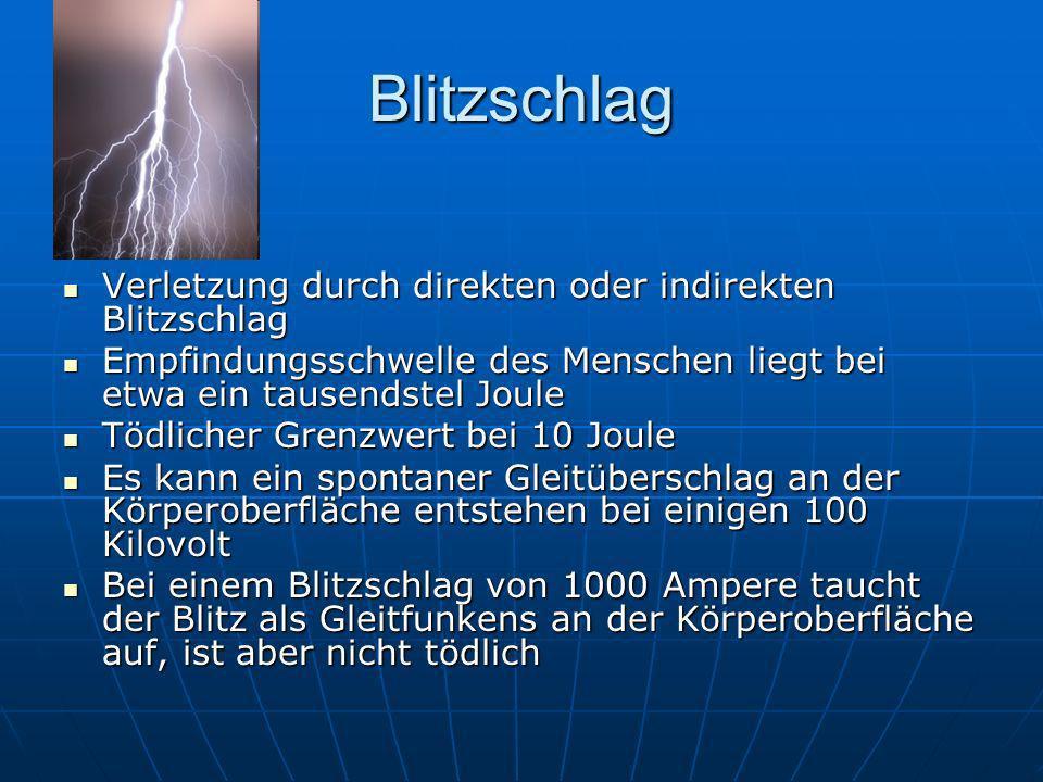 Blitzschlag Verletzung durch direkten oder indirekten Blitzschlag