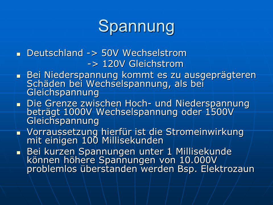 Spannung Deutschland -> 50V Wechselstrom -> 120V Gleichstrom