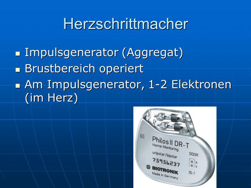 Herzschrittmacher Impulsgenerator (Aggregat) Brustbereich operiert