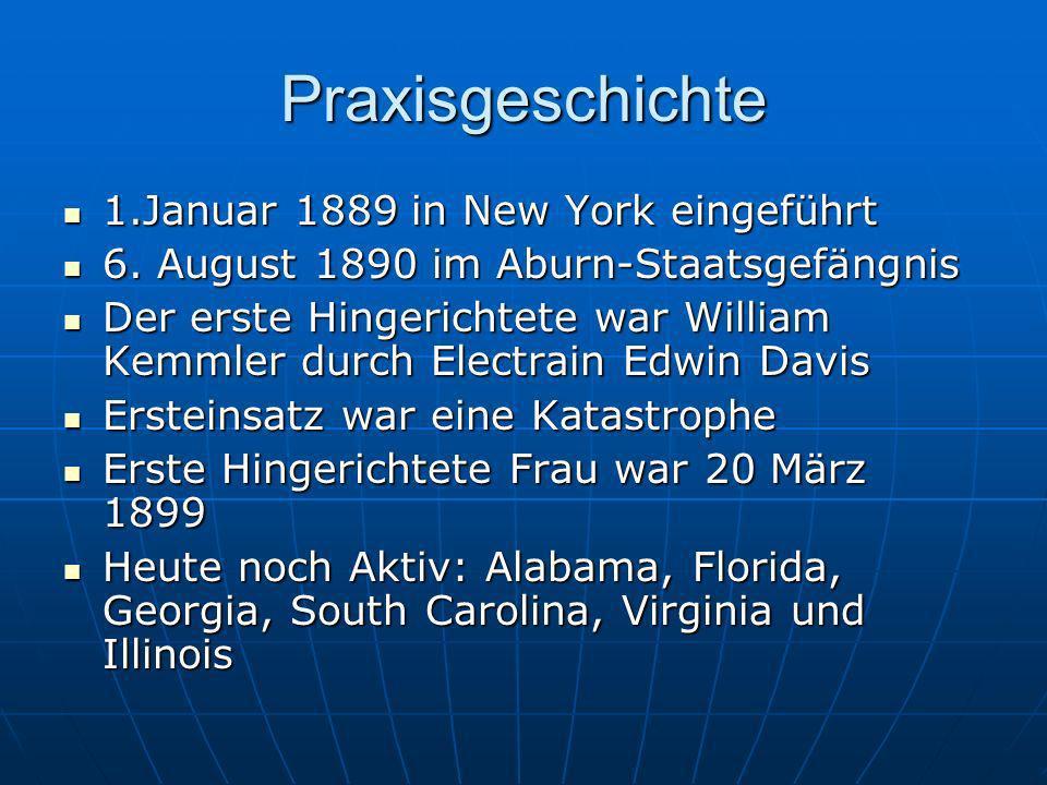 Praxisgeschichte 1.Januar 1889 in New York eingeführt