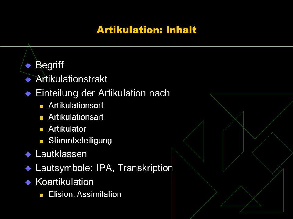Einteilung der Artikulation nach