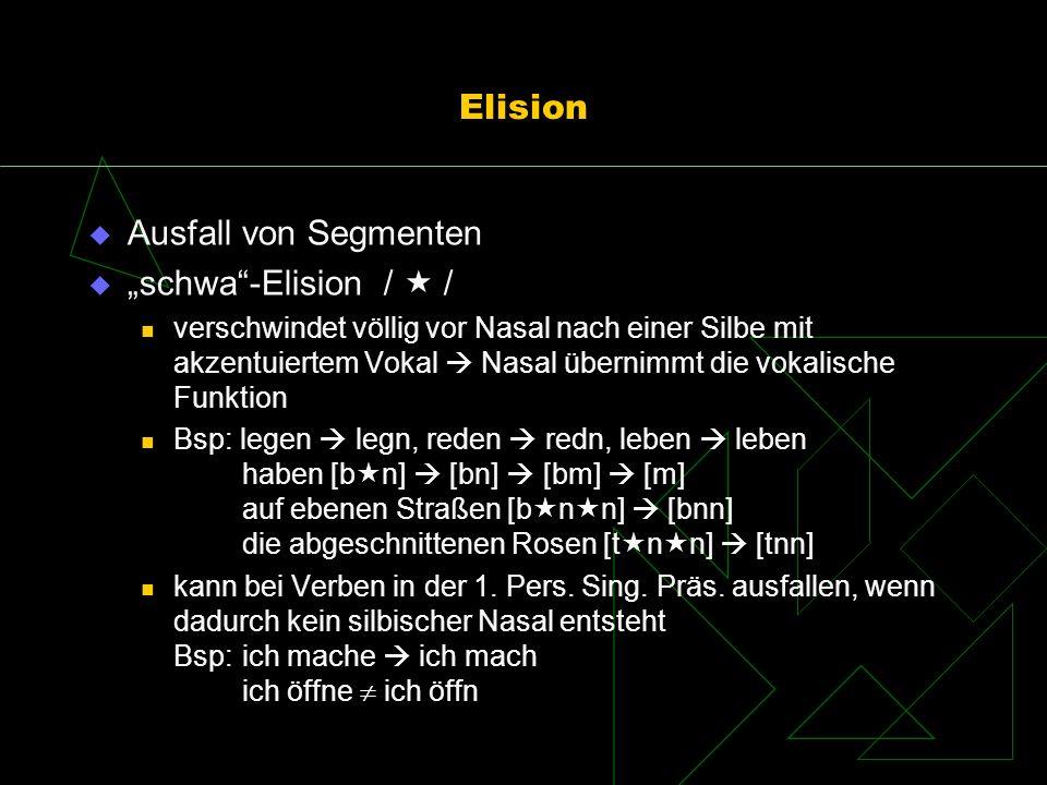 """Elision Ausfall von Segmenten """"schwa -Elision /  /"""
