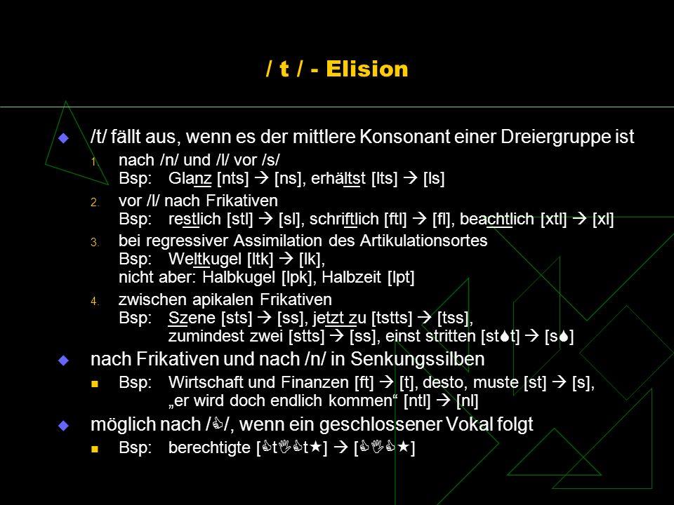 / t / - Elision /t/ fällt aus, wenn es der mittlere Konsonant einer Dreiergruppe ist.