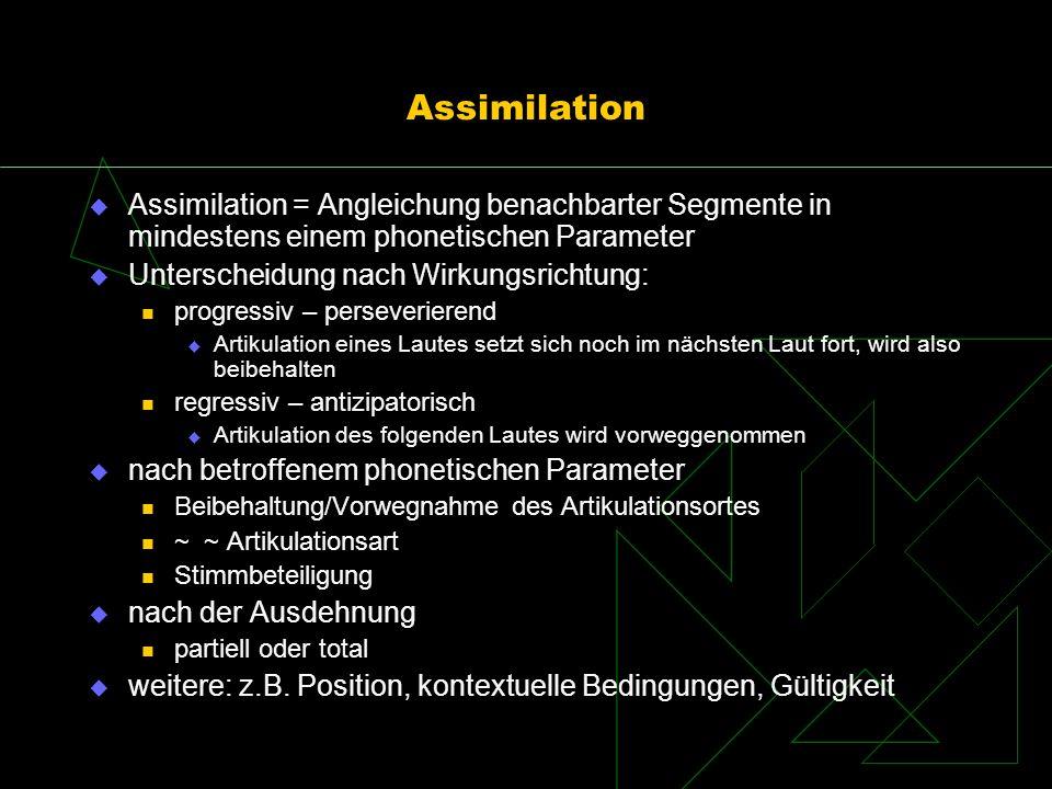 Assimilation Assimilation = Angleichung benachbarter Segmente in mindestens einem phonetischen Parameter.
