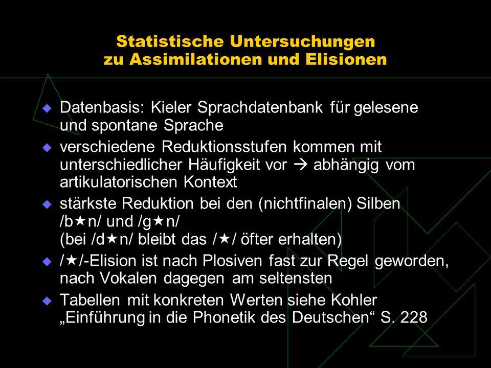 Statistische Untersuchungen zu Assimilationen und Elisionen