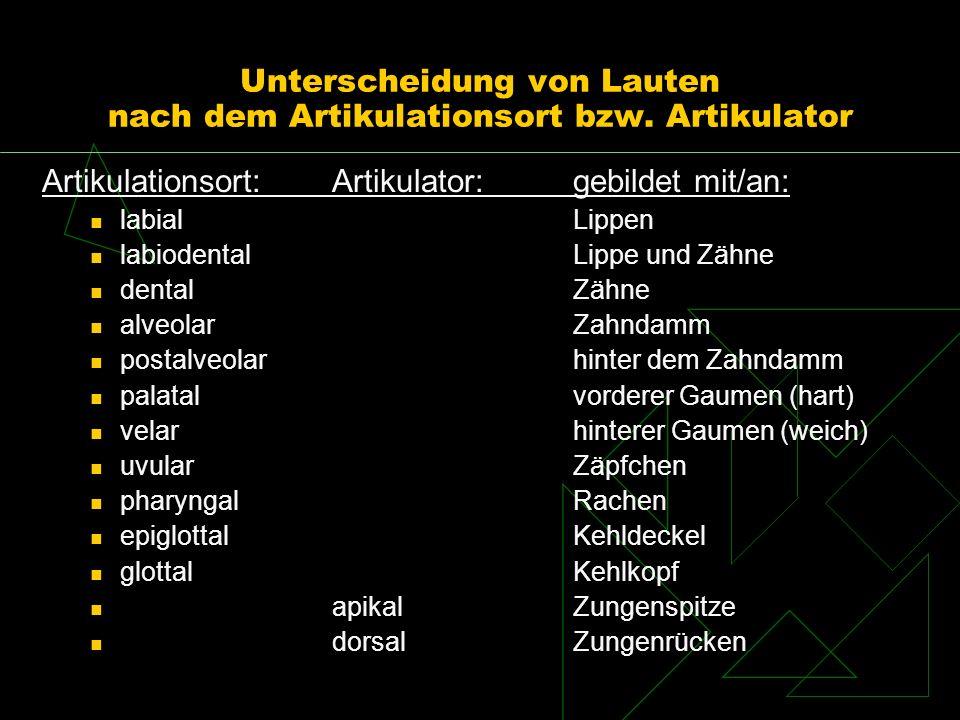 Unterscheidung von Lauten nach dem Artikulationsort bzw. Artikulator