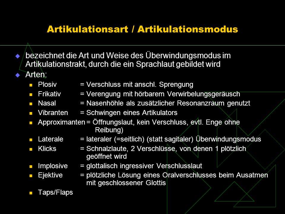 Artikulationsart / Artikulationsmodus