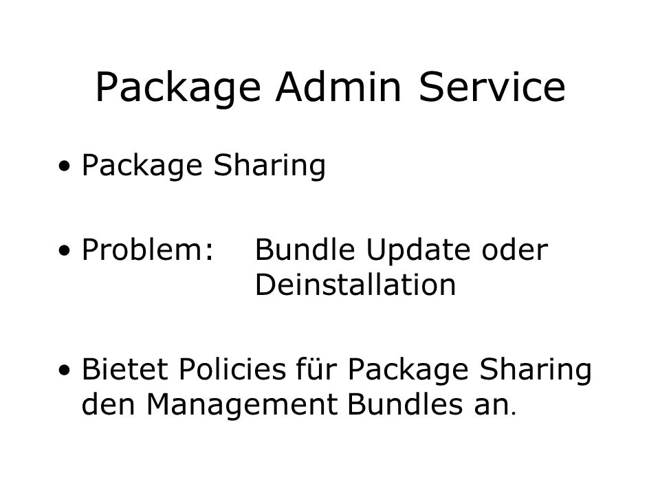 Package Admin Service Package Sharing
