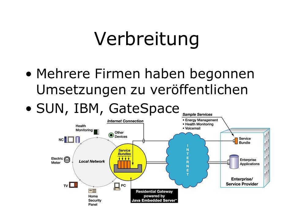 Verbreitung Mehrere Firmen haben begonnen Umsetzungen zu veröffentlichen. SUN, IBM, GateSpace. JAVA EMBEDDED SERVER.