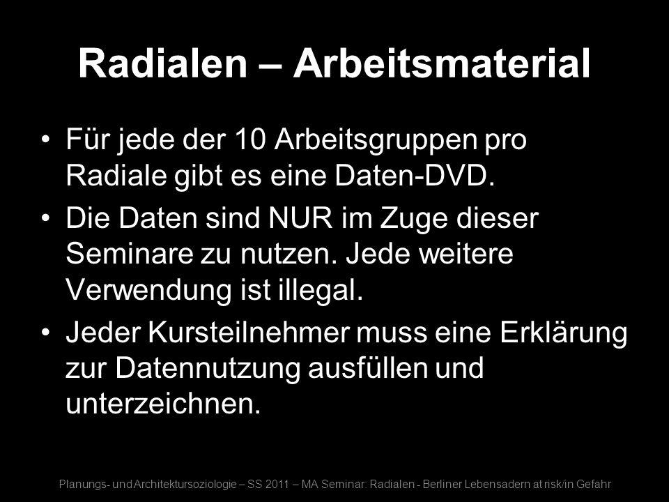Radialen – Arbeitsmaterial