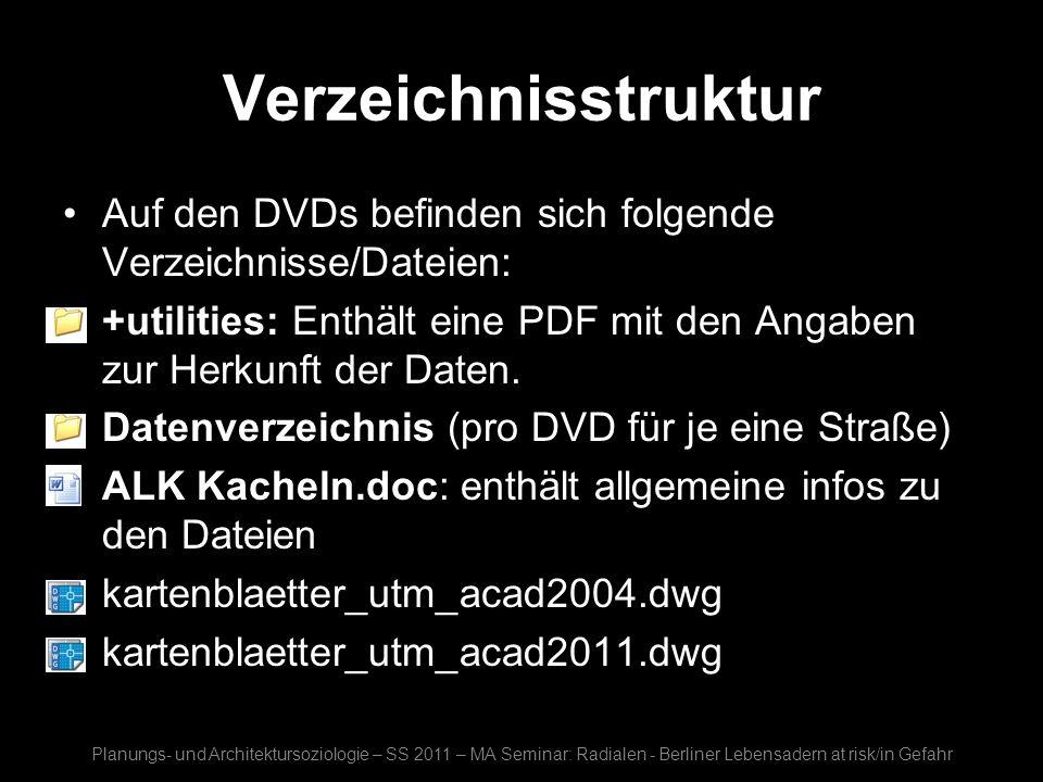 VerzeichnisstrukturAuf den DVDs befinden sich folgende Verzeichnisse/Dateien: +utilities: Enthält eine PDF mit den Angaben zur Herkunft der Daten.