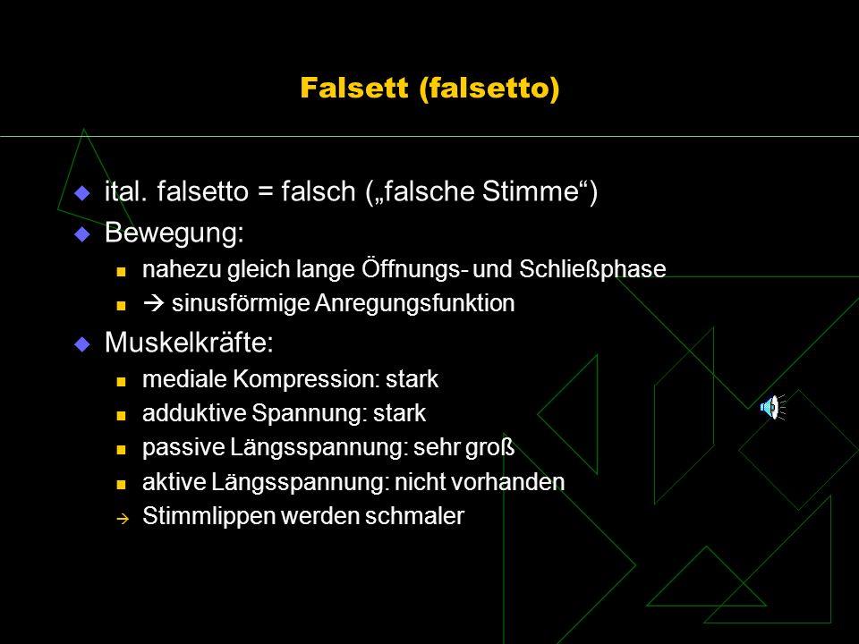 """ital. falsetto = falsch (""""falsche Stimme ) Bewegung:"""
