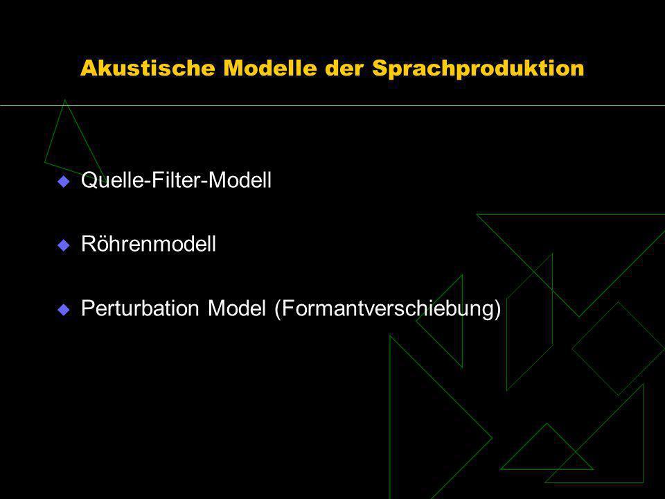 Akustische Modelle der Sprachproduktion