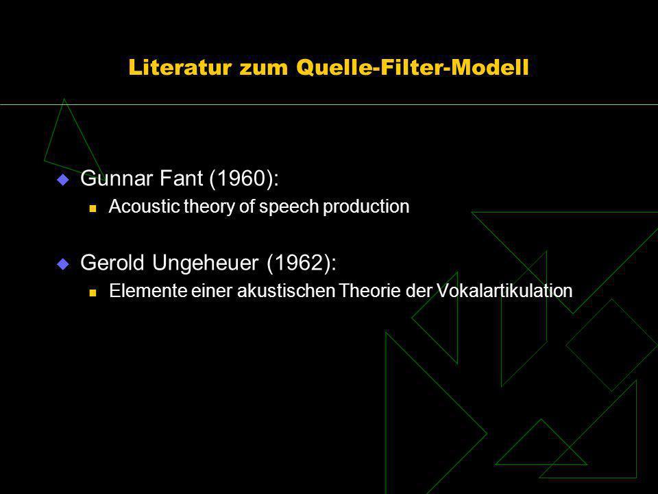 Literatur zum Quelle-Filter-Modell