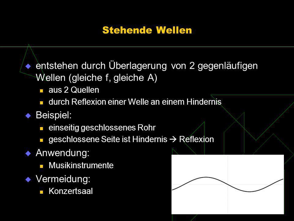 Stehende Wellen entstehen durch Überlagerung von 2 gegenläufigen Wellen (gleiche f, gleiche A) aus 2 Quellen.