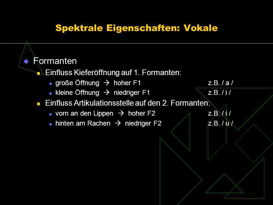 Spektrale Eigenschaften: Vokale