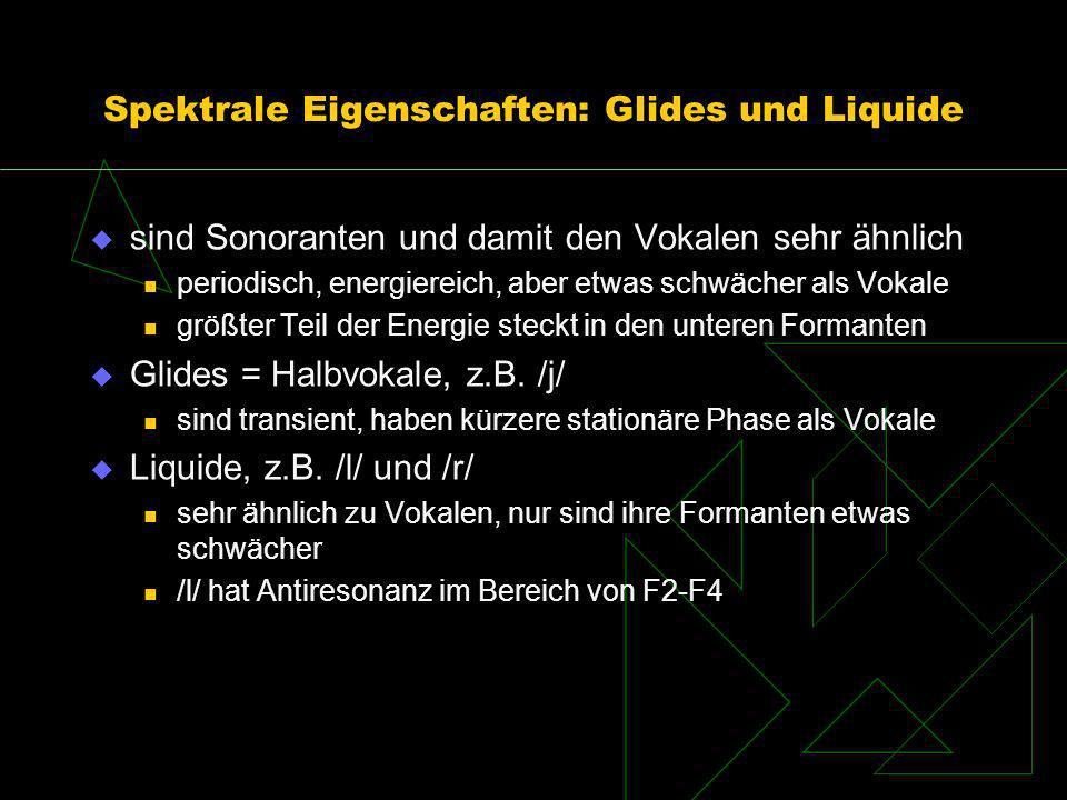 Spektrale Eigenschaften: Glides und Liquide