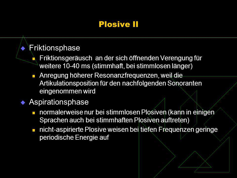 Plosive II Friktionsphase Aspirationsphase