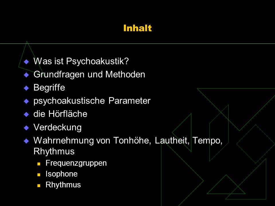 Grundfragen und Methoden Begriffe psychoakustische Parameter