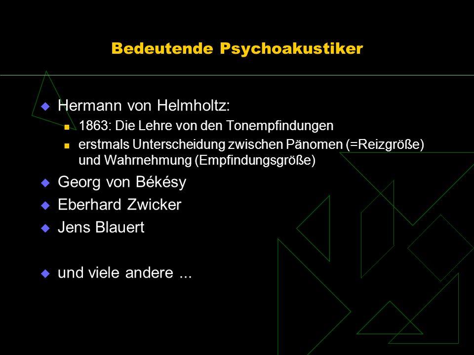 Bedeutende Psychoakustiker