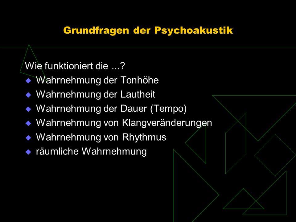 Grundfragen der Psychoakustik