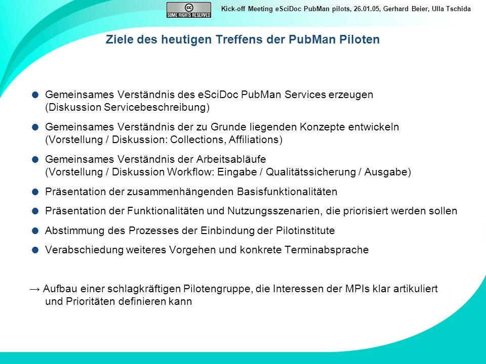 Ziele des heutigen Treffens der PubMan Piloten