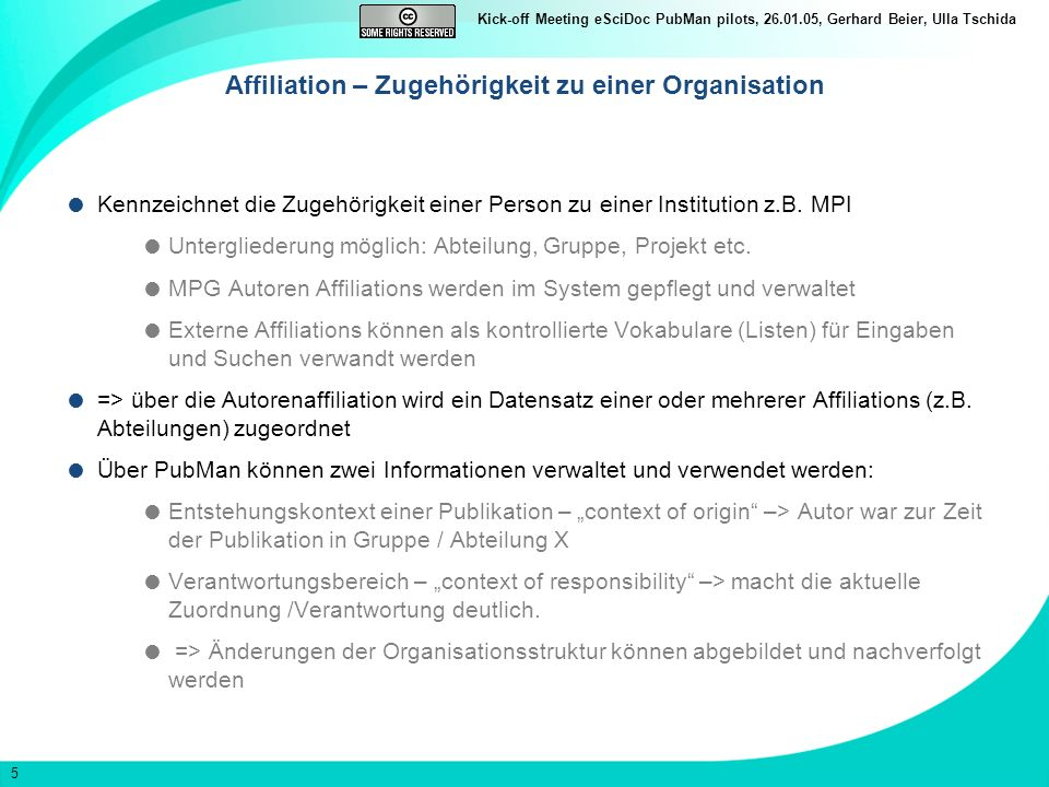 Affiliation – Zugehörigkeit zu einer Organisation