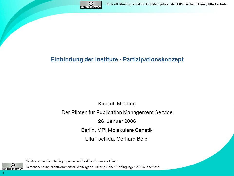 Einbindung der Institute - Partizipationskonzept