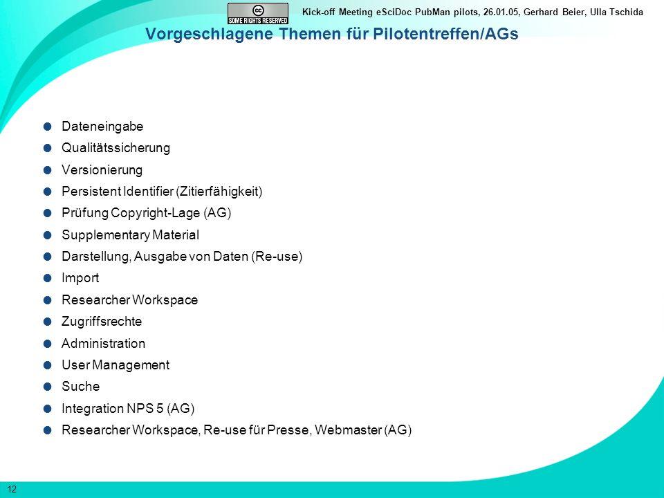 Vorgeschlagene Themen für Pilotentreffen/AGs