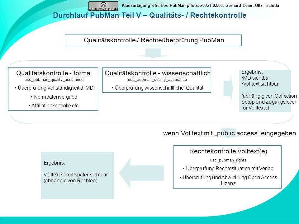 Durchlauf PubMan Teil V – Qualitäts- / Rechtekontrolle