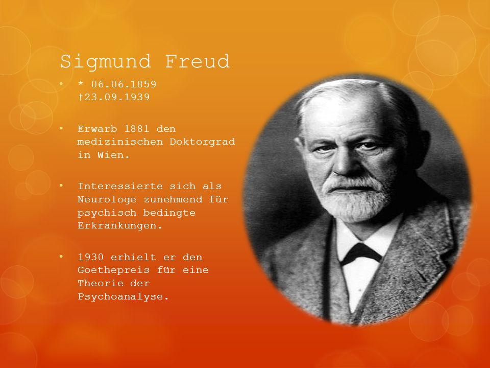 Sigmund Freud * 06.06.1859 †23.09.1939. Erwarb 1881 den medizinischen Doktorgrad in Wien.
