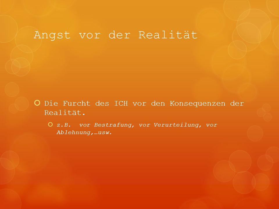 Angst vor der Realität Die Furcht des ICH vor den Konsequenzen der Realität.