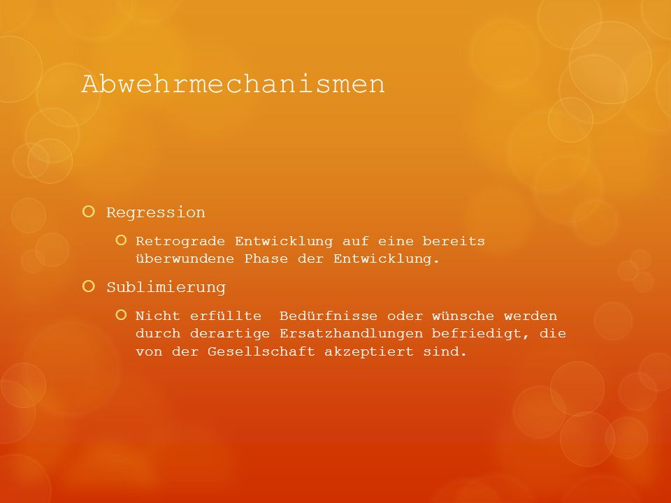 Abwehrmechanismen Regression Sublimierung