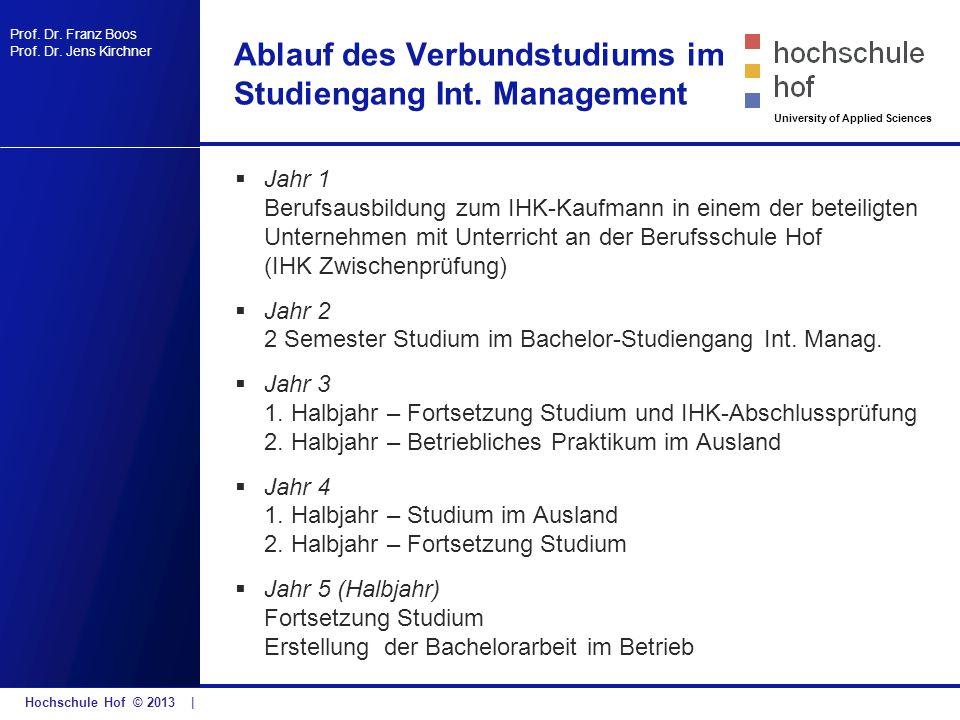 Ablauf des Verbundstudiums im Studiengang Int. Management