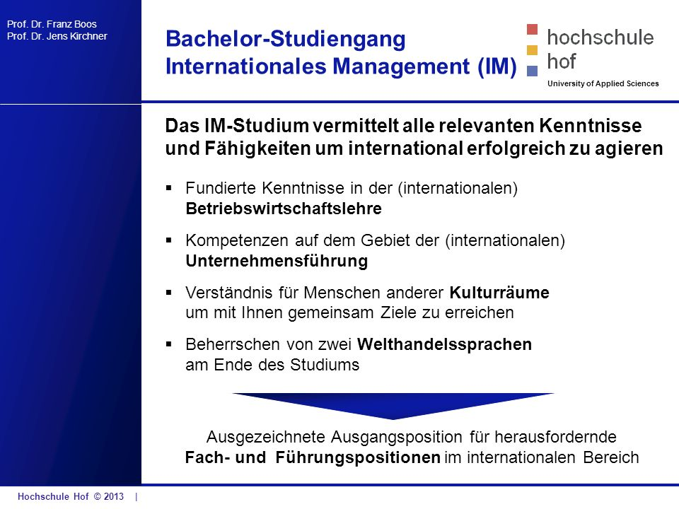 Bachelor-Studiengang Internationales Management (IM)