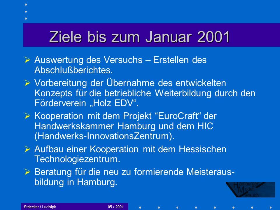 Ziele bis zum Januar 2001 Auswertung des Versuchs – Erstellen des Abschlußberichtes.