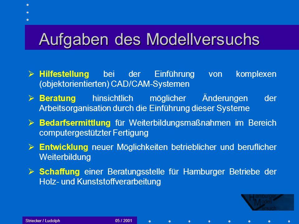 Aufgaben des Modellversuchs