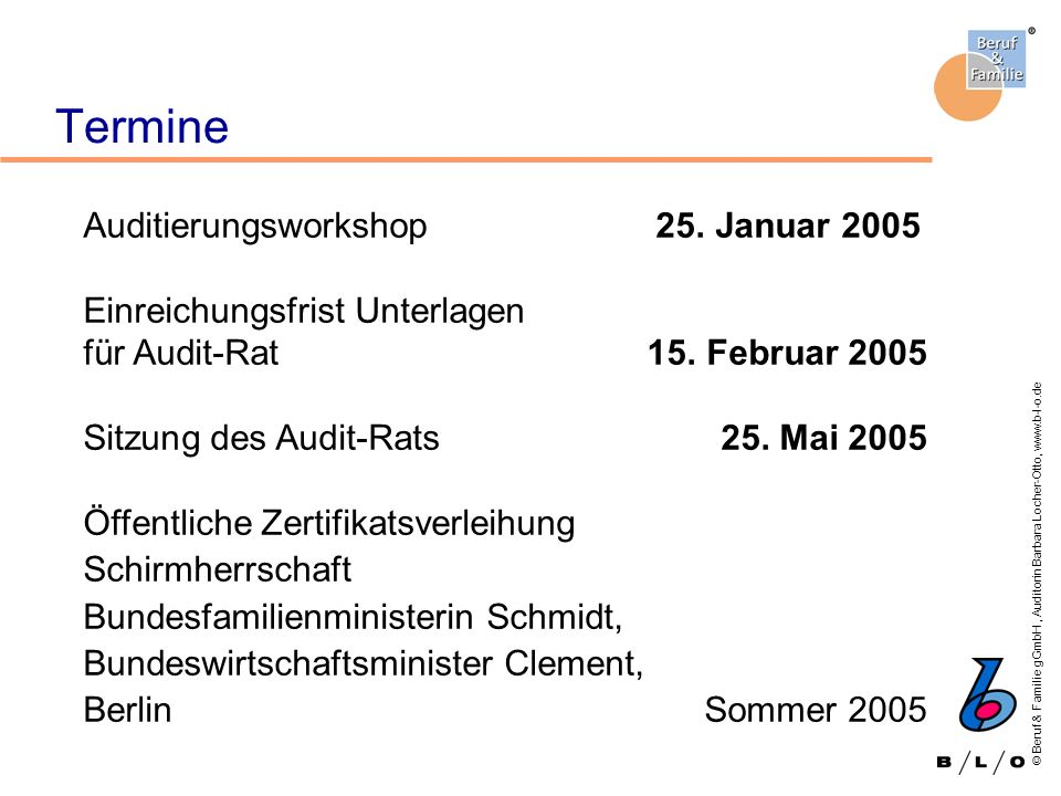 Termine Auditierungsworkshop 25. Januar 2005