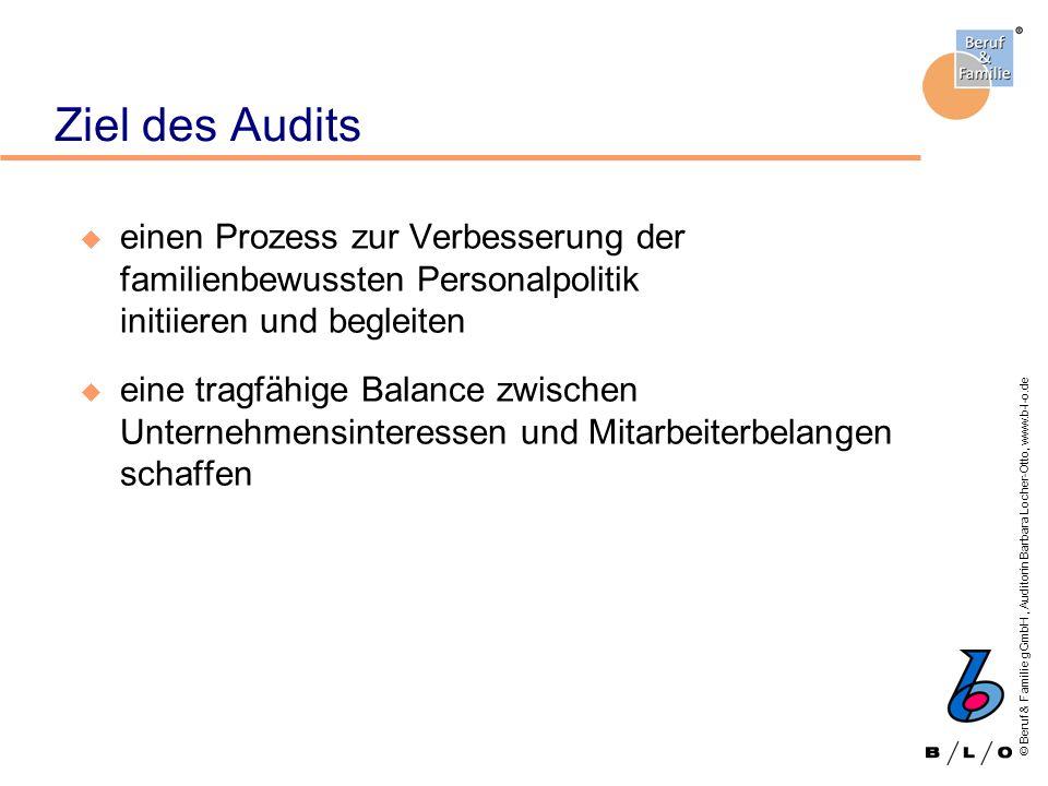 Ziel des Audits einen Prozess zur Verbesserung der familienbewussten Personalpolitik initiieren und begleiten.