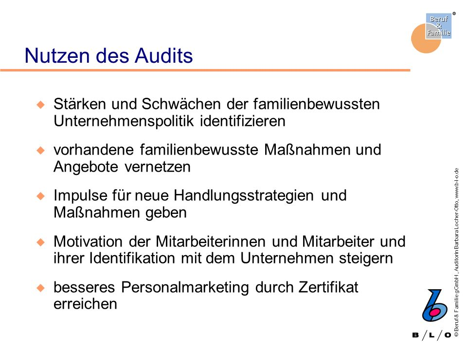 Nutzen des Audits Stärken und Schwächen der familienbewussten Unternehmenspolitik identifizieren.