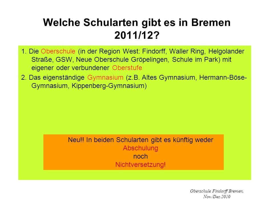 Welche Schularten gibt es in Bremen 2011/12