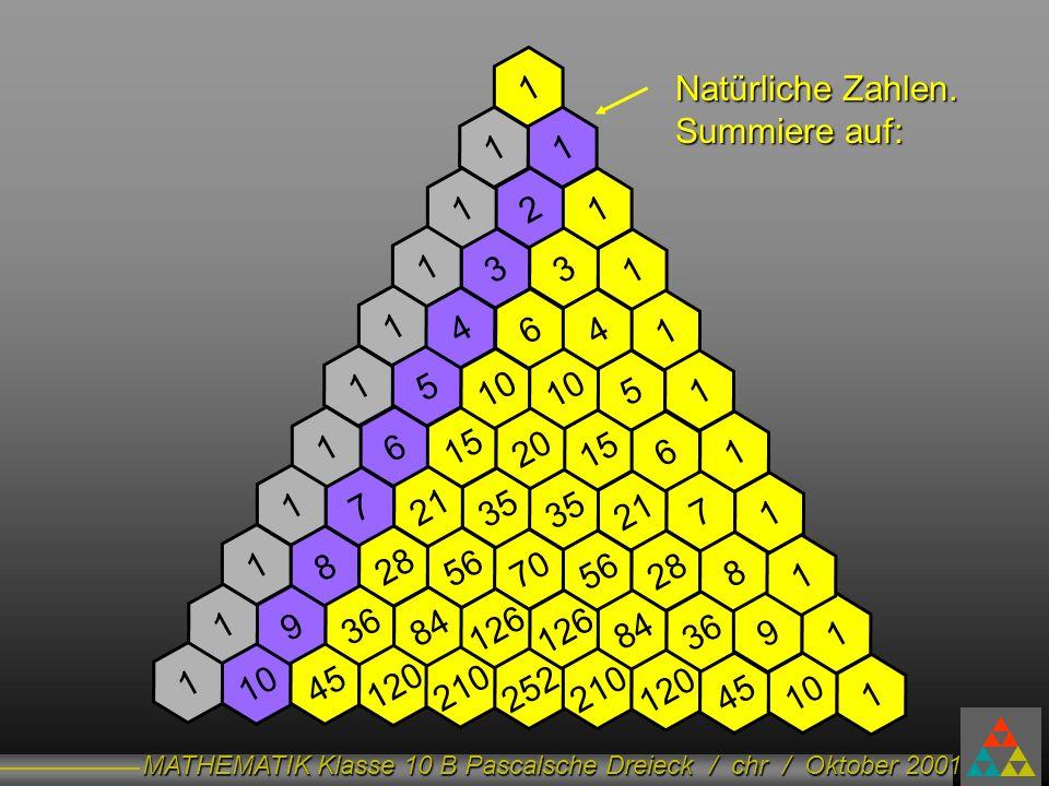 1 Natürliche Zahlen. Summiere auf: 1. 1. 1. 2. 1. 1. 3. 3. 1. 1. 4. 6. 4. 1. 1. 5.
