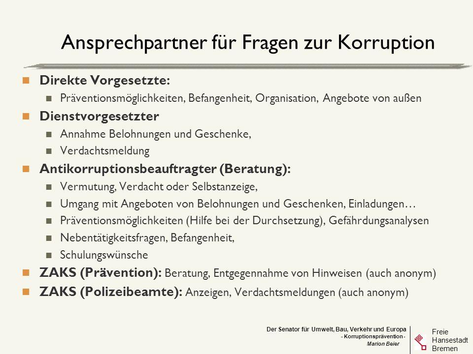 Ansprechpartner für Fragen zur Korruption