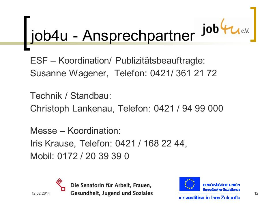 job4u - Ansprechpartner