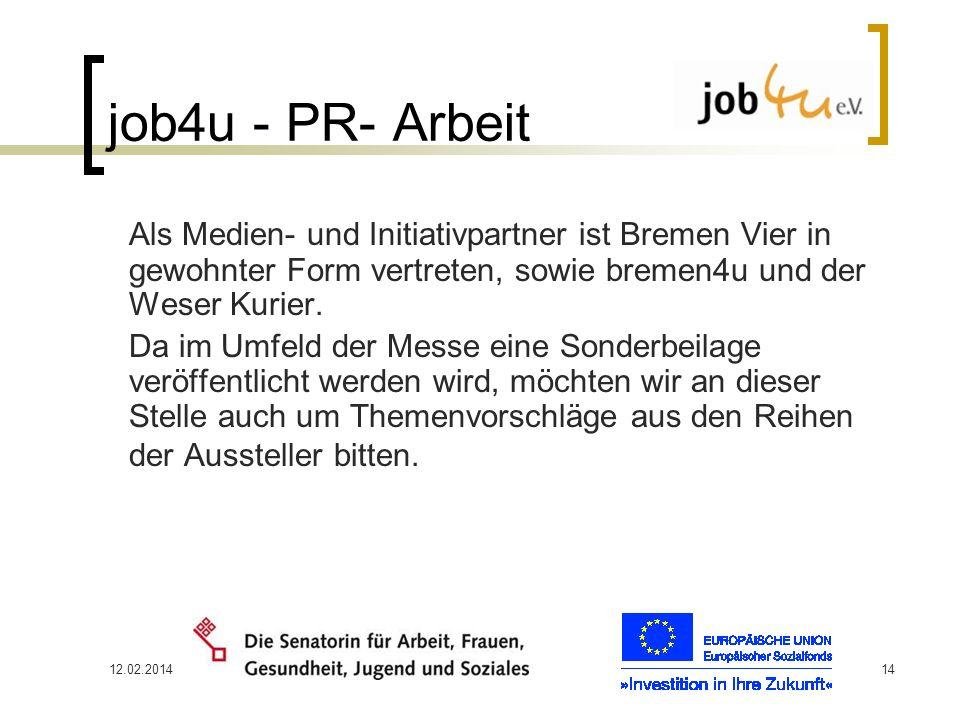 job4u - PR- Arbeit Als Medien- und Initiativpartner ist Bremen Vier in gewohnter Form vertreten, sowie bremen4u und der Weser Kurier.